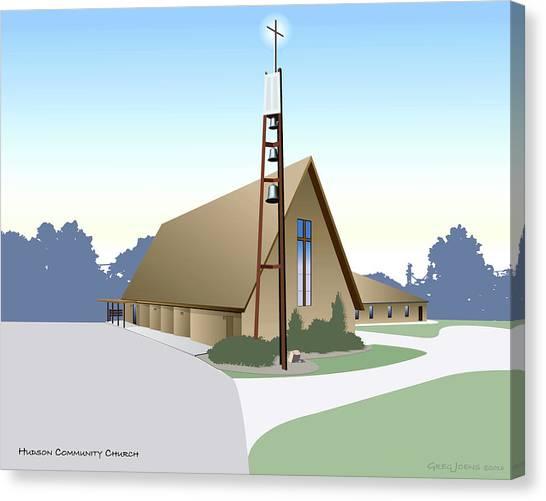 Iowa Canvas Print - Hudson Community Church by Greg Joens