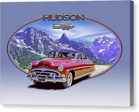 Hudson Hornet Travels The Tetons Canvas Print by Ed Dooley