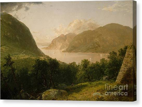 Mountain West Canvas Print - Hudson River Scene, 1857  by John Frederick Kensett