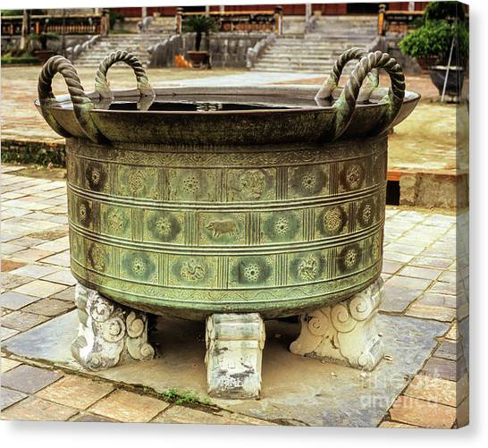 Canvas Print - Hue Imperial Citadel Bronze Urn 01 by Rick Piper Photography