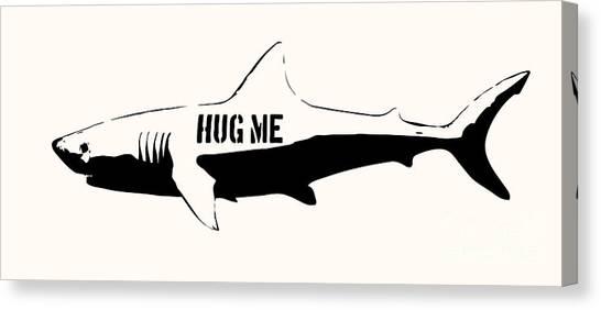 Shark Teeth Canvas Print - Hug Me Shark - Black  by Pixel  Chimp