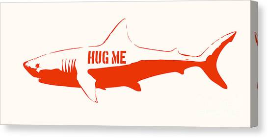 Jaws Canvas Print - Hug Me Shark by Pixel Chimp