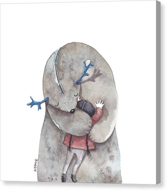 Whimsical Canvas Print - Hug Me by Soosh