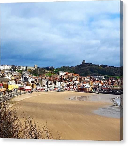 Huge Beach, Cute Town And A Castle Canvas Print by Dante Harker