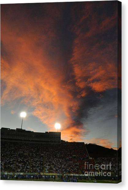 Colorado State University Canvas Print - Hughes Stadium Sunset by Sara  Mayer