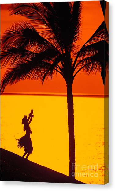 Hawaii Canvas Print - Hula At Sunset by Ron Dahlquist - Printscapes