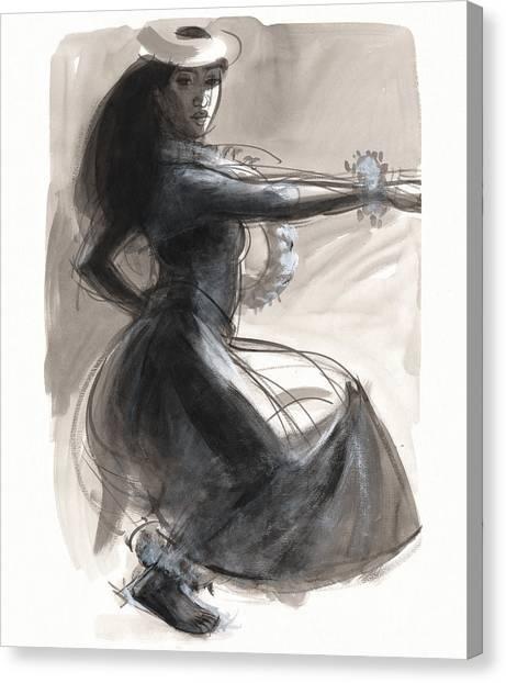 Kamehameha Hula Dancer Canvas Print