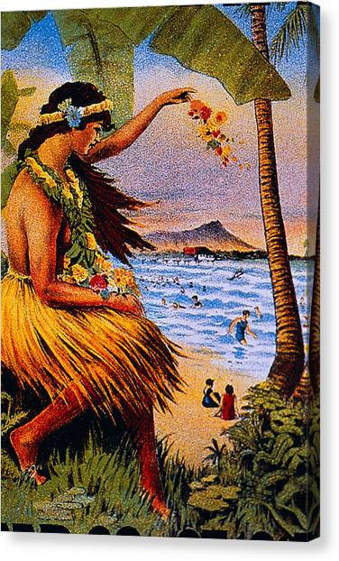 Hawaii Canvas Print - Hula Flower Girl 1915 by Hawaiian Legacy Archive - Printscapes