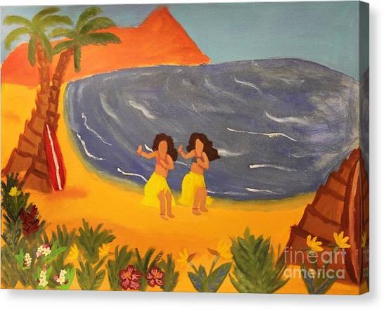 Hula Girls Canvas Print