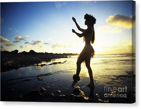 Hawaii Canvas Print - Hula Silhouette by Vince Cavataio - Printscapes