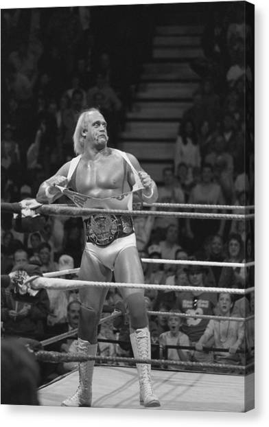 Wwe Canvas Print - Hulk Hogan The Champion by Bill Cubitt
