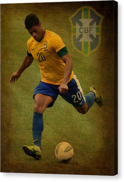 Lionel Messi Canvas Print - Hulk Kicks Givanildo Vieira De Souza by Lee Dos Santos