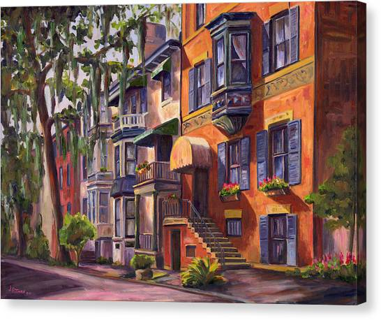 Hull Street In Chippewa Square Savannah Canvas Print by Jeff Pittman