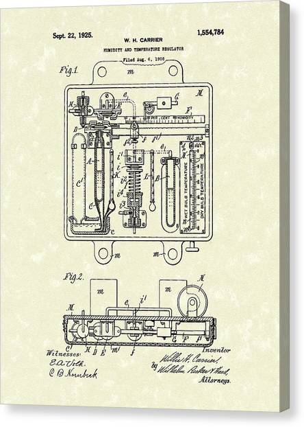 Canvas Print featuring the drawing Humidity And Temperature Regulator 1925 Patent Art by Prior Art Design