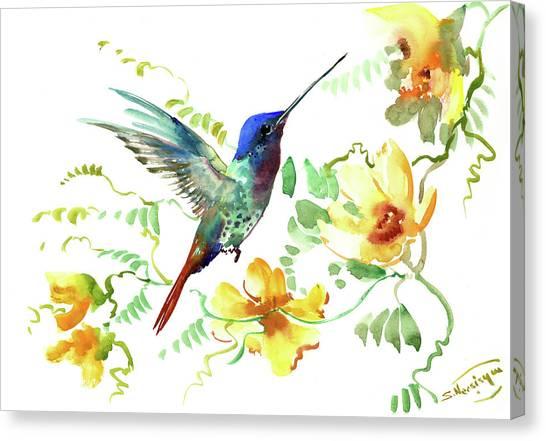 Hummibgbird And Yellow Flowers Canvas Print