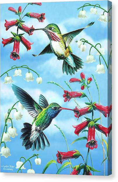 Small Birds Canvas Print - Humming Birds by JQ Licensing