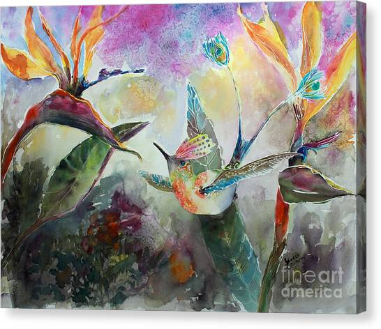 Hummingbird And Birds Of Paradise Tropical Watercolor Canvas Print