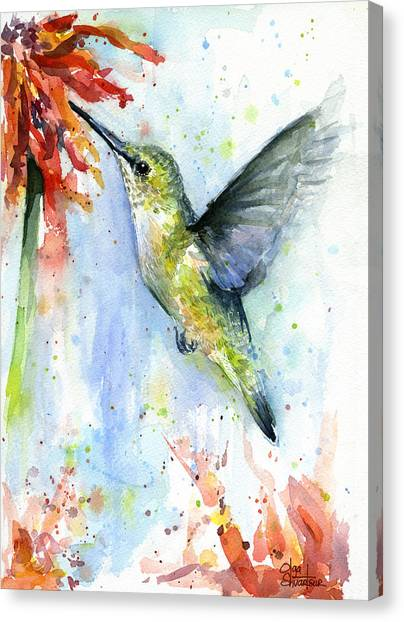 Small Birds Canvas Print - Hummingbird And Red Flower Watercolor by Olga Shvartsur