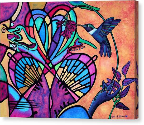 Hummingbird And Stained Glass Hearts Canvas Print