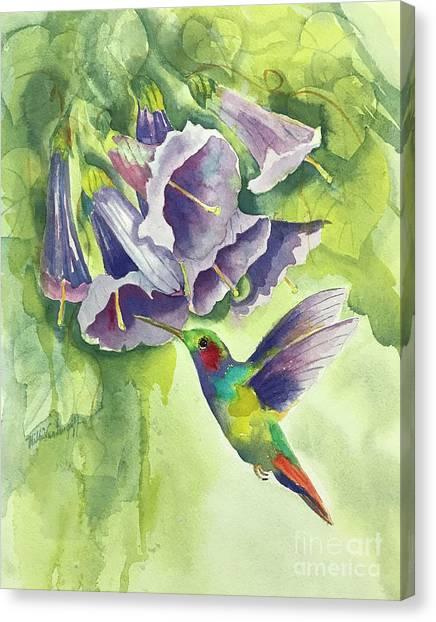 Hummingbird And Trumpets Canvas Print