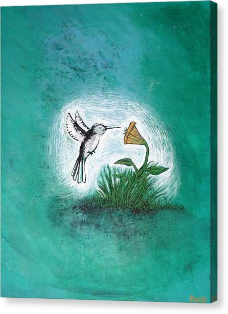 Canvas Print featuring the painting Hummingbird by Antonio Romero