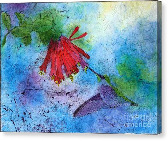 Hummingbird Batik Watercolor Canvas Print