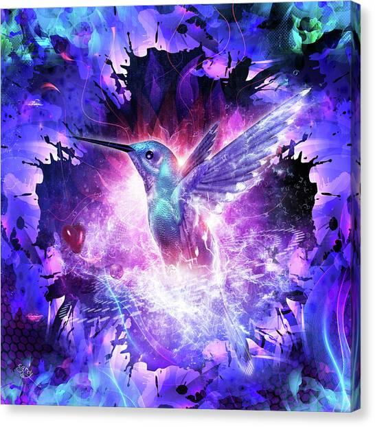 Meditate Canvas Print - Hummingbird Love by Cameron Gray