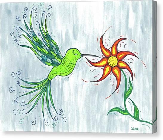 Hummingbird Floral Canvas Print