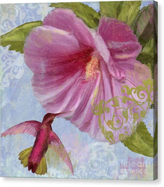 Hibiscus Canvas Print - Hummingbird Hibiscus I by Mindy Sommers