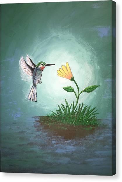 Canvas Print featuring the painting Hummingbird II by Antonio Romero