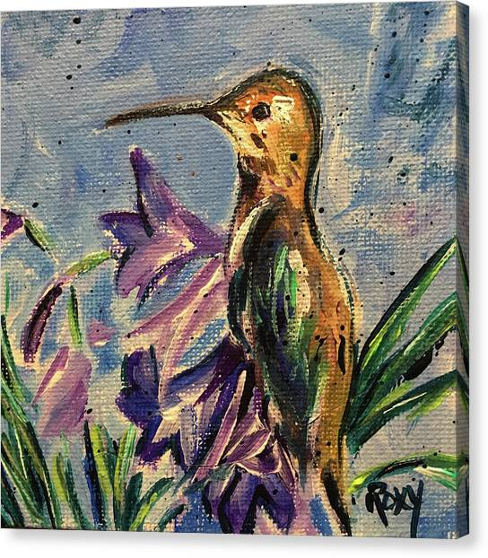 Large Birds Canvas Print - Hummingbird In Purple Flowers by Roxy Rich