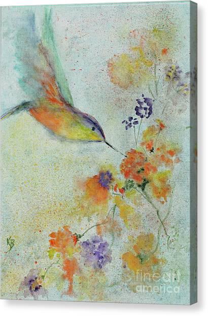 Canvas Print featuring the painting Hummingbird by Karen Fleschler