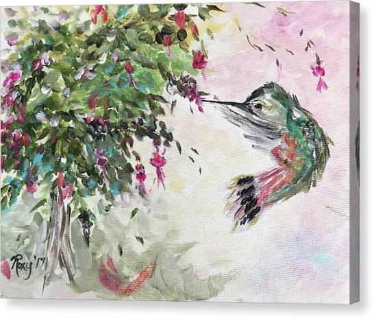 Quirky Canvas Print - Hummingbird With Fuchsias by Roxy Rich