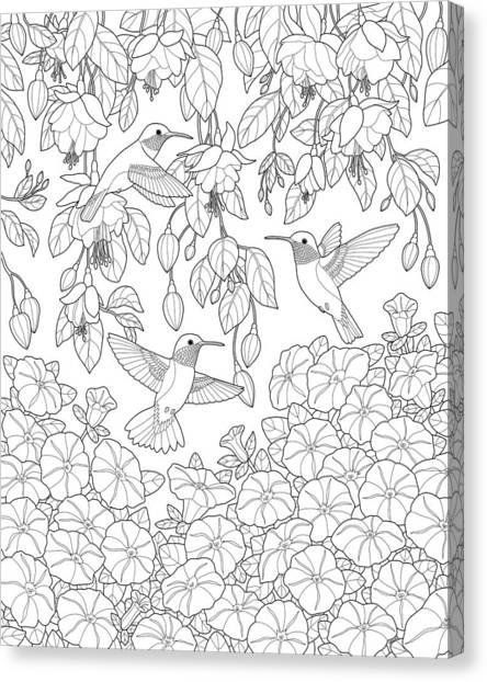 Petunias Canvas Print - Hummingbirds And Flowers Coloring Page by Crista Forest