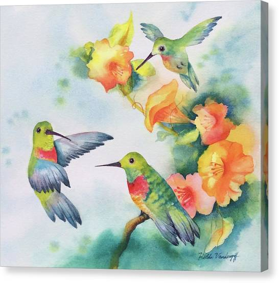 Hummingbirds With Orange Flowers Canvas Print