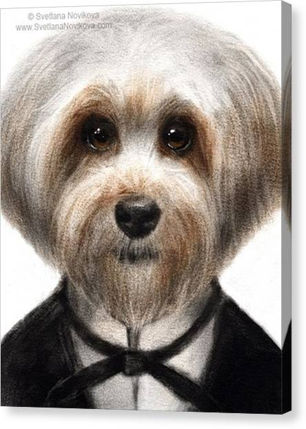 Portraits Canvas Print - Humorous Dressed Dog Painting By by Svetlana Novikova