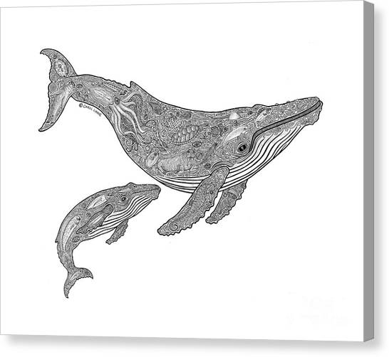 Whales Canvas Print - Humpback And Calf by Carol Lynne