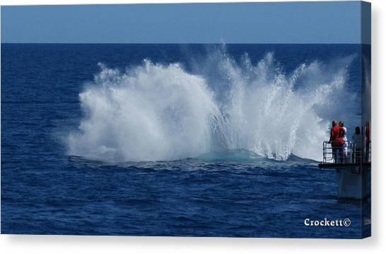 Humpback Whale Breaching Close To Boat 23 Image 3 Of 4 Canvas Print