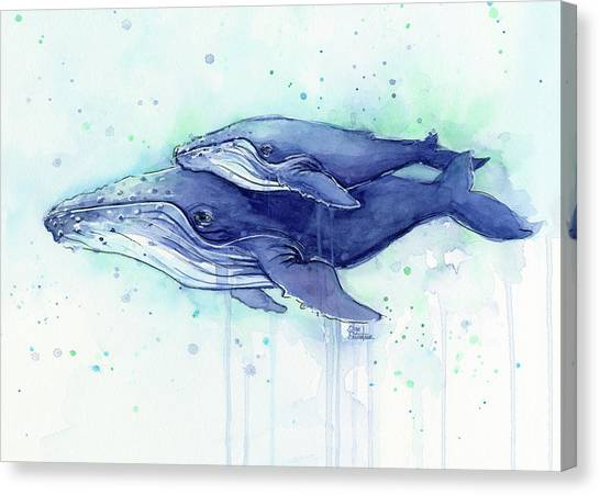 Blue Whales Canvas Print - Humpback Whale Mom And Baby Watercolor by Olga Shvartsur