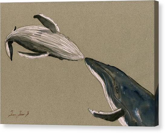 Jellyfish Canvas Print - Humpback Whale Painting by Juan  Bosco