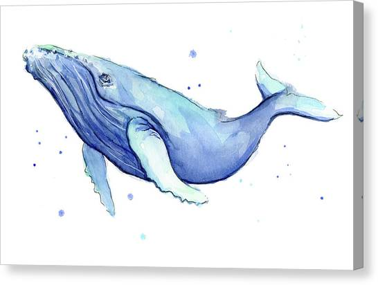 Blue Whales Canvas Print - Humpback Whale Watercolor by Olga Shvartsur