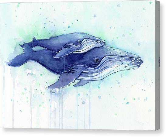 Ocean Animals Canvas Print - Humpback Whales Mom And Baby Watercolor Painting - Facing Right by Olga Shvartsur