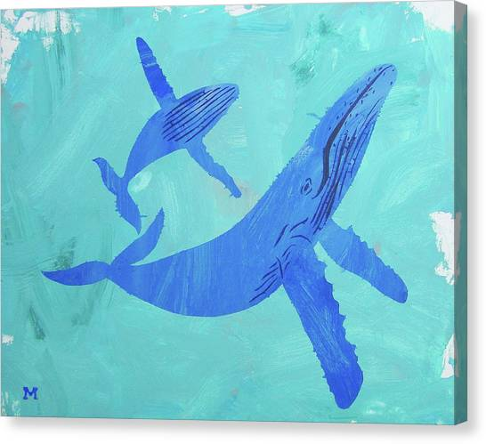 Canvas Print featuring the painting Humpback Whales by Candace Shrope