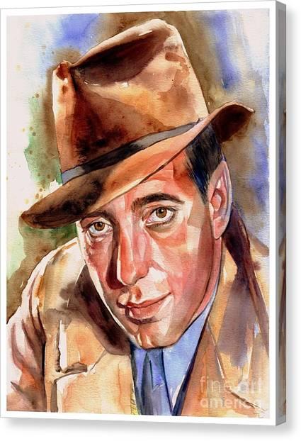 American Cowboy Canvas Print - Humphrey Bogart Portrait by Suzann's Art