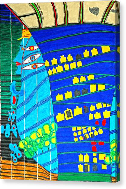 Hundertwasser Blue Moon Atlantis Escape To Outer Space Canvas Print