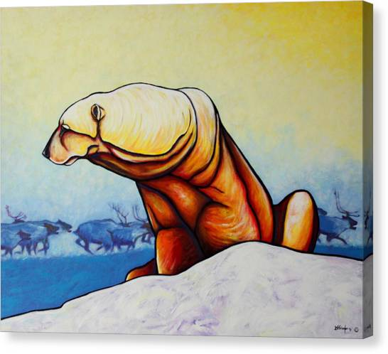 Polar Bear Canvas Print - Hunger Burns - Polar Bear And Caribou by Joe  Triano