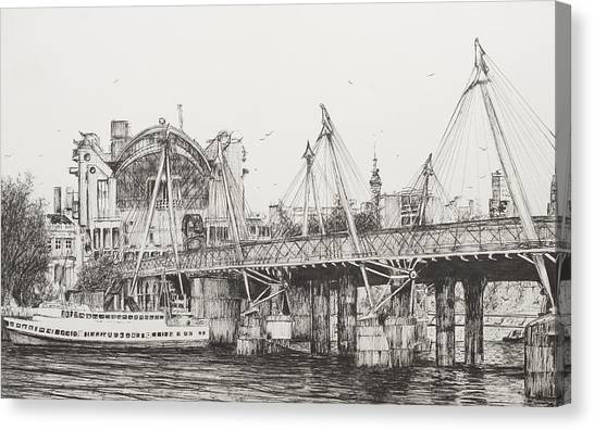 Pen And Ink Drawing Canvas Print - Hungerford Bridge by Vincent Alexander Booth