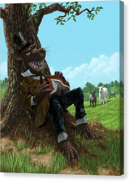 Hungry Bad Wolf In Field With Little Sheep Canvas Print