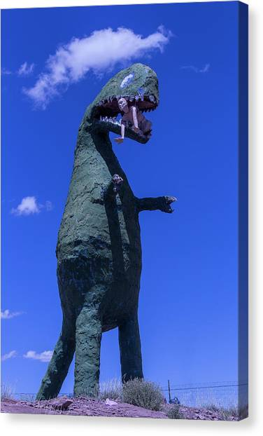 Timeworn Canvas Print - Hungry Dinosaur Head In The Clouds by Garry Gay