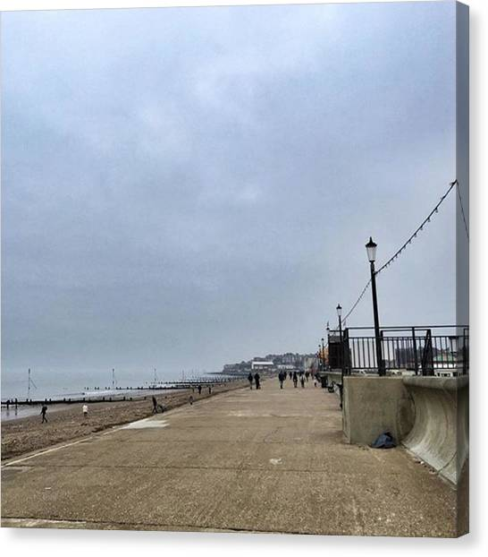 Seas Canvas Print - Hunstanton At 4pm Yesterday As The by John Edwards